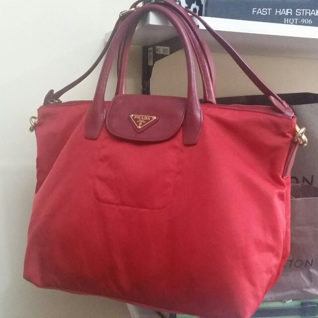 25abb5d48d ... spain authentic prada tessuto saffiano rosso nylon tote bag repriced  luxury bags wallets on carousell df26f
