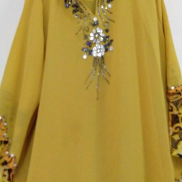 Baju Kurung Moden Warna Kuning Size54 Muslimah Fashion