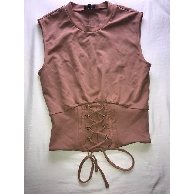 Bardot corset Tie up top