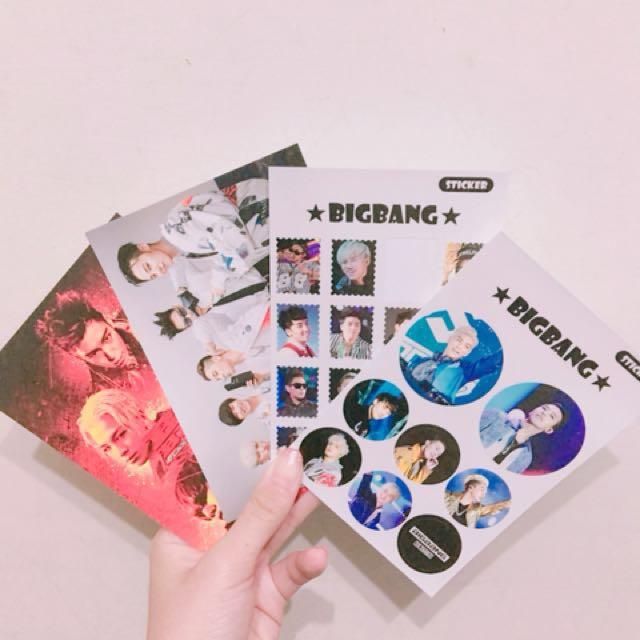 Bigbang明信片2張+貼紙2張