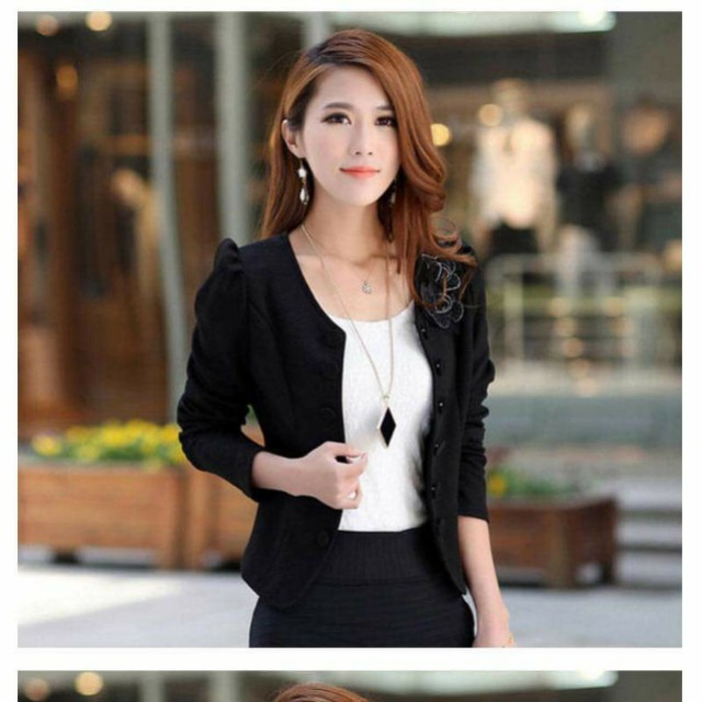 adba1d213737 Black blazer jacket casual formal ladies women, Women's Fashion, Clothes,  Tops on Carousell