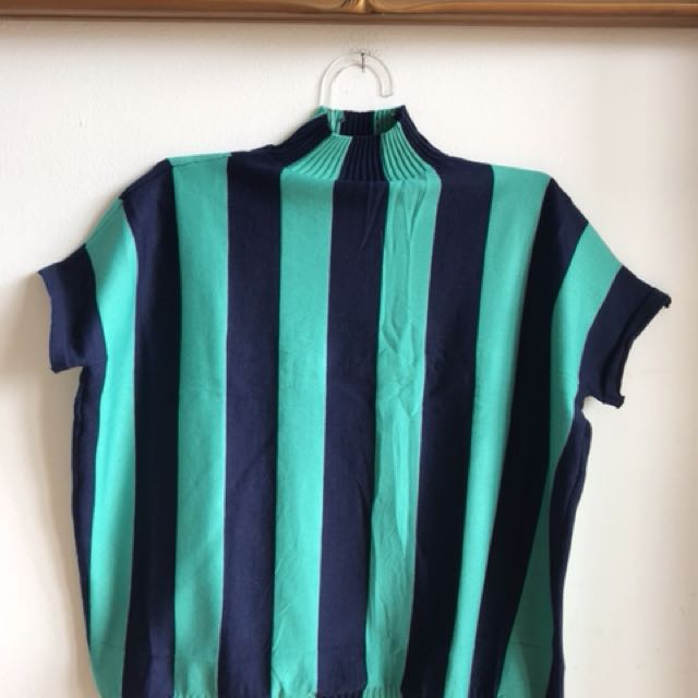 Blouse turtle neck stripe all size