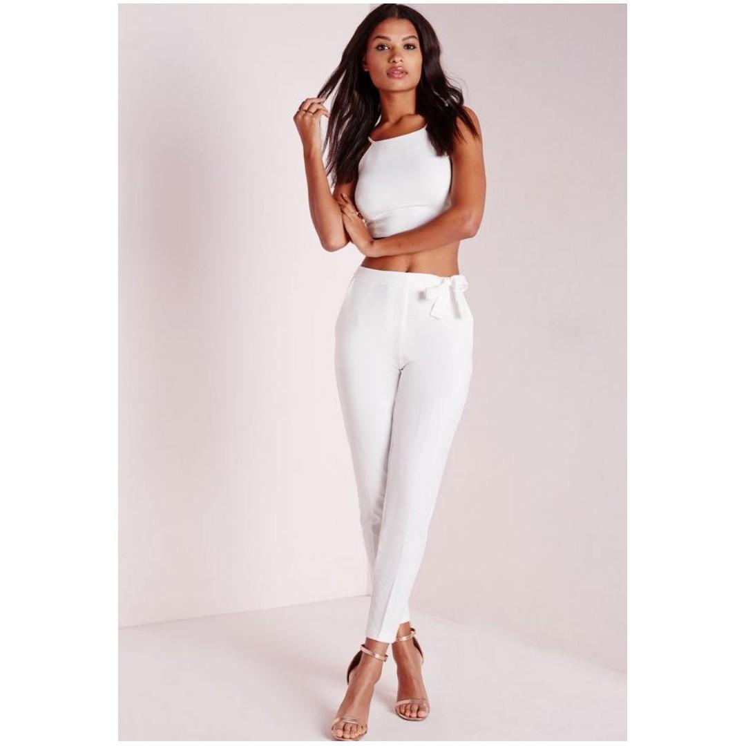 Bnwt Missguided Black Tie Waist Trousers Belt High PantsWomen's n0P8kwOX