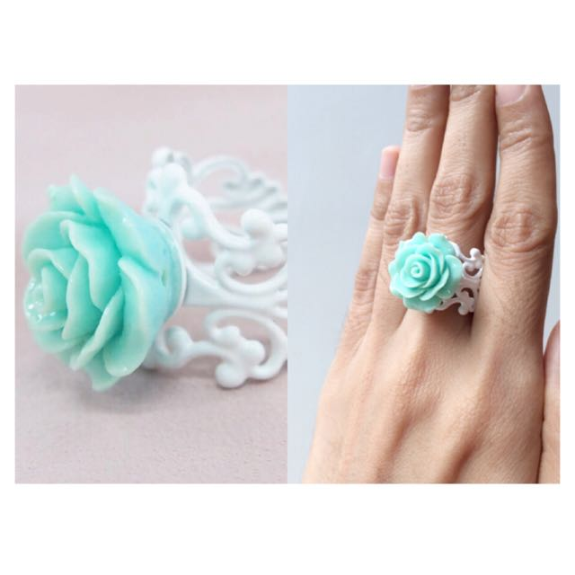 #BUY2GET3 Light Turquoise rose flower ring handmade high quality jewelry