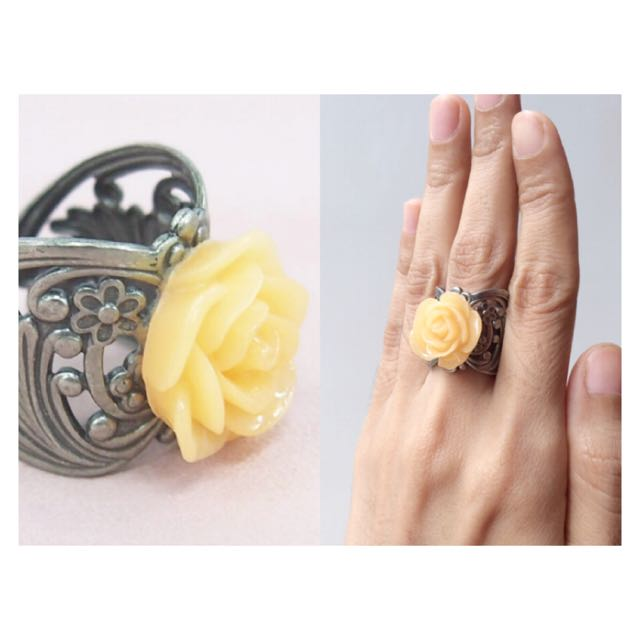 #BUY2GET3 Light Yellow Rose ring handmade high quality resin limited flowery jewelry