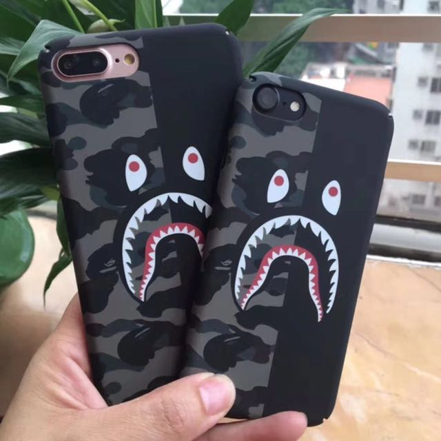 separation shoes 8bbee 48480 Camo Bape Shark iPhone X Case iPhone 8 7 6 Plus Fashion Cover Streetwear  Bape Shark Mouth Camouflage