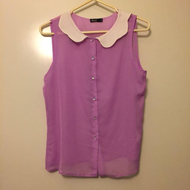 Collar shirt (purple and white)