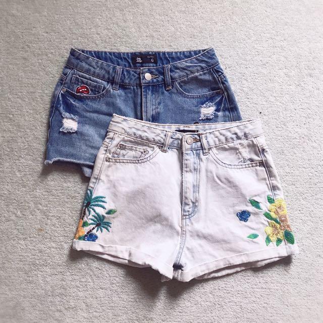 denim shorts set