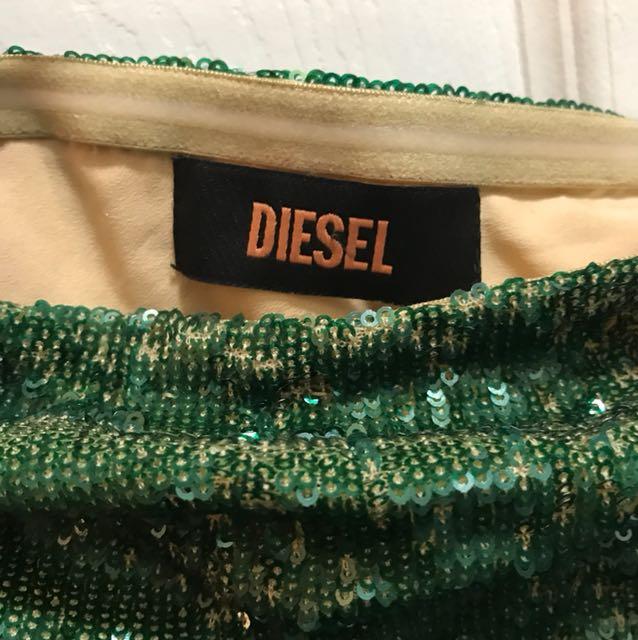 DIESEL M ombré sequin mermaid tube dress strapless