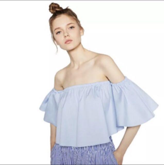 Dolly girl Bardot blue off shoulder top size M
