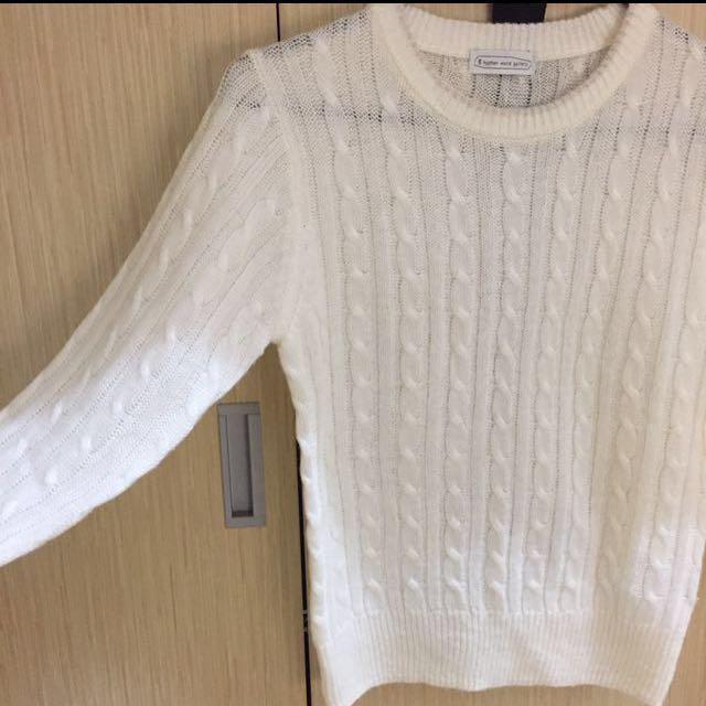 近全新e hyphen world gallery白色學院風麻花針織毛衣上衣