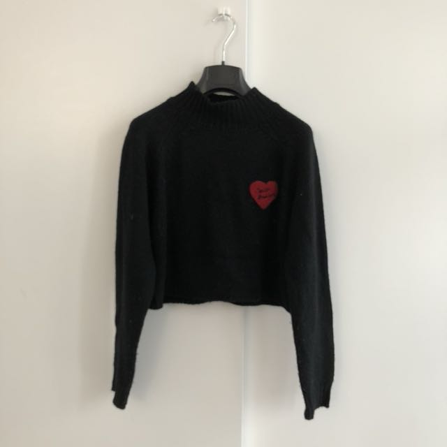 F21 Black Crop Turtleneck Sweater