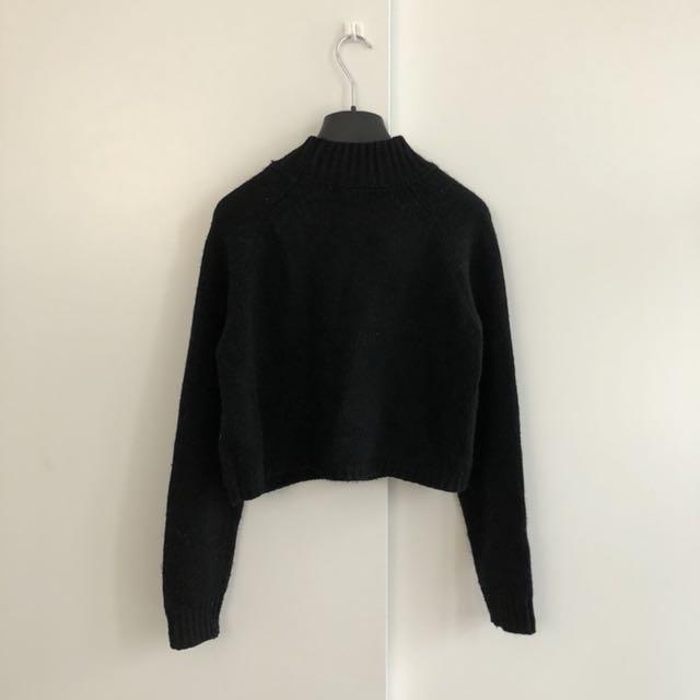 F21 Black Crop Turtleneck Sweater