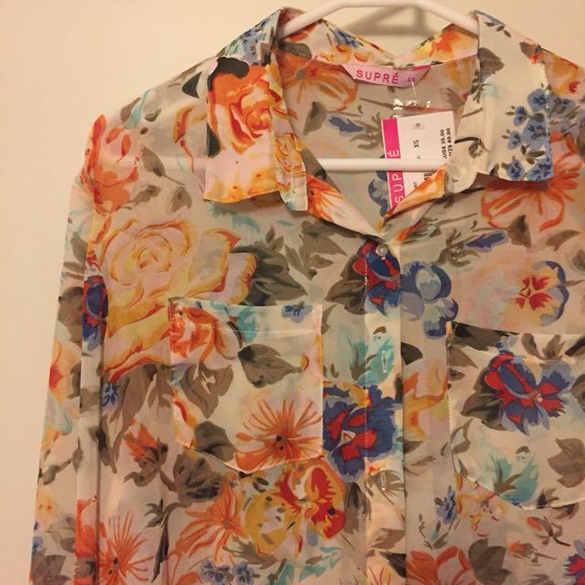 Floral long sleeve collar shirt
