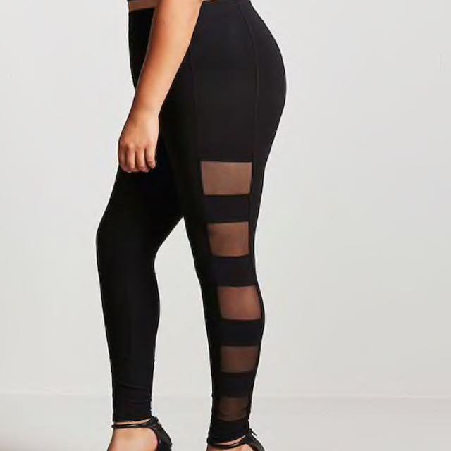 8b28cda7d9971e Forever 21 plus size side mesh panel leggings, Women's Fashion ...
