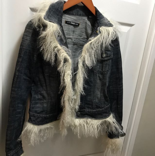 GAS jeans designer jean jacket S w REAL mohair - super one of a kind!