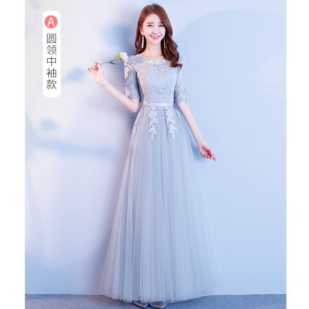Gown Collection - Mid Length Lace Sleeves Round Neck Design Simple ...