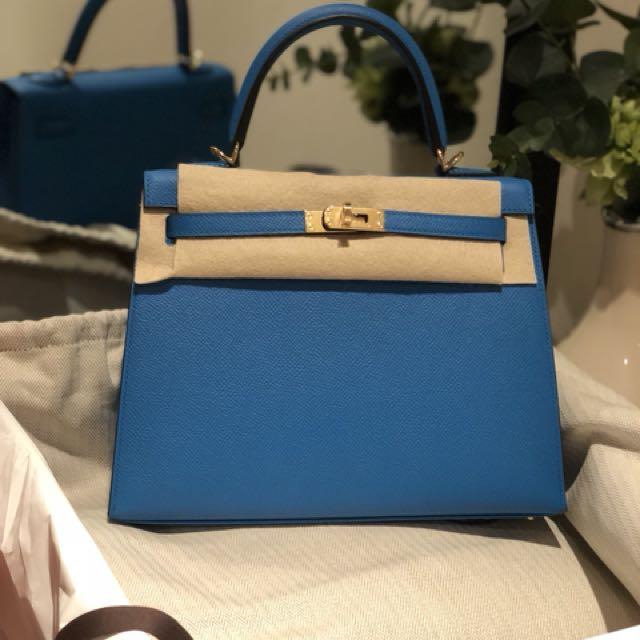 42d5efa4ee06 Hermes kelly 25 blue zanzibar epsom sellier ghw