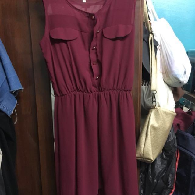 Hi-Low Maroon dress #CNY88