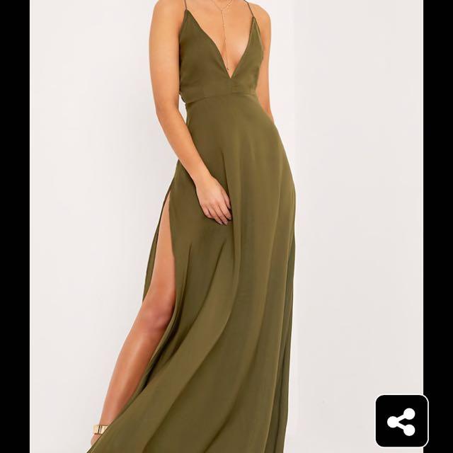 Khaki Plunge Split Maxi Formal Dress