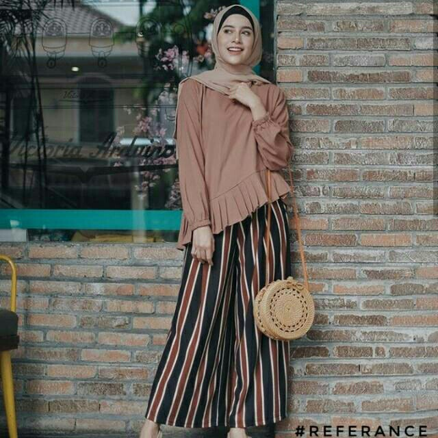 Kulot Salur Stripe Aghnia Salur Pants Brownies Zara Women S