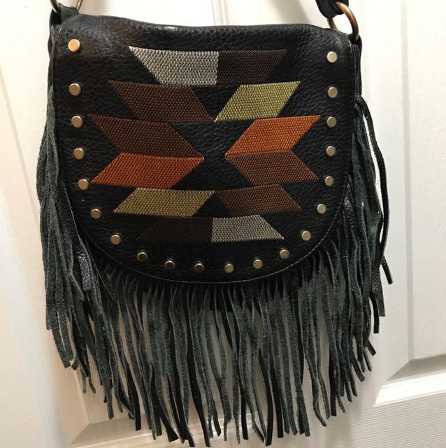 Leather fringe boho / festival crossbody bag