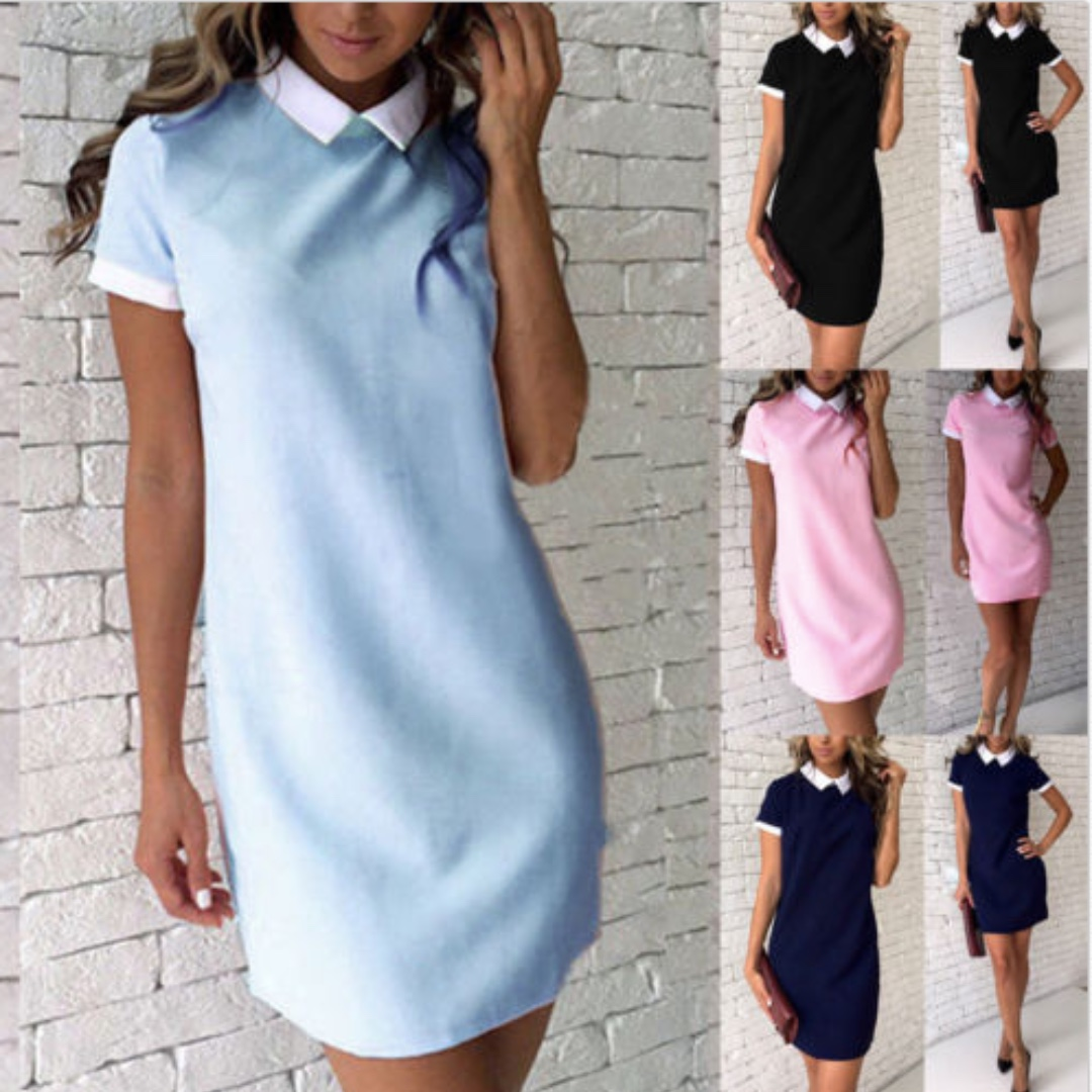 Loose Casual Tops Short Sleeve  Blouse T Shirt Short Mini Dress BW
