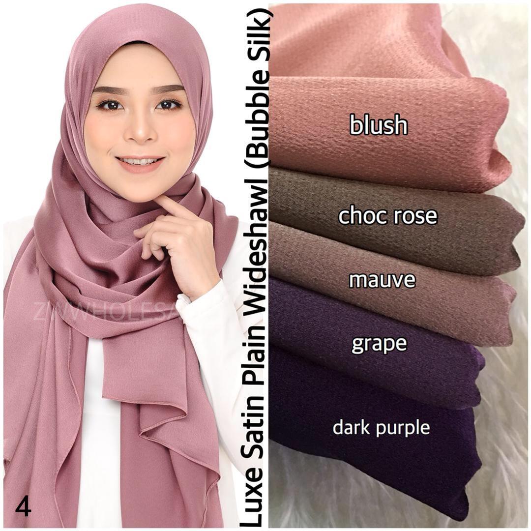 Luxe Satin Plain Wideshawl 04 Muslimah Fashion Scarves On Carousell Hijab Segitiga Buble Georgete