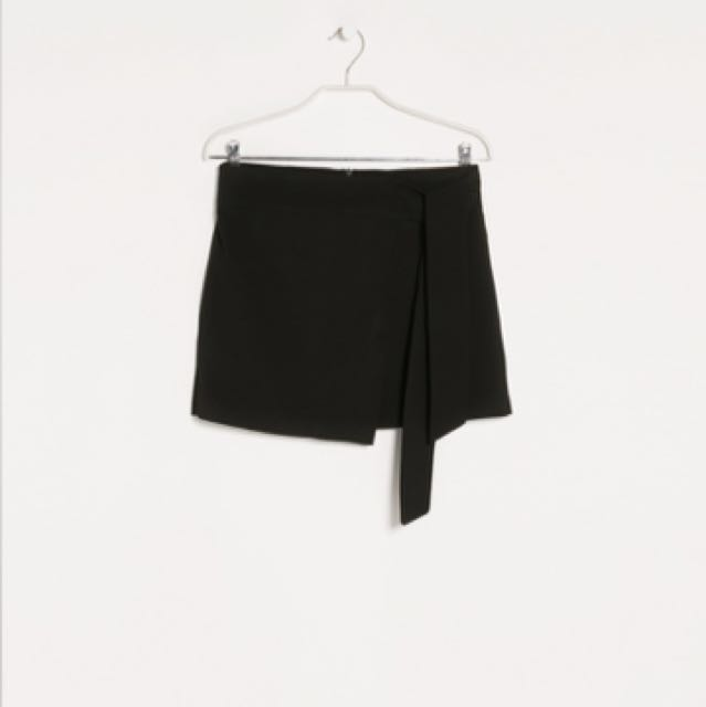 Mango black ribbon skirt