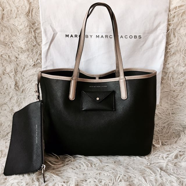 593b8d9b50a6 Marc by Marc Jacobs Metropolitote 48 Black and Taupe Etched Leather ...