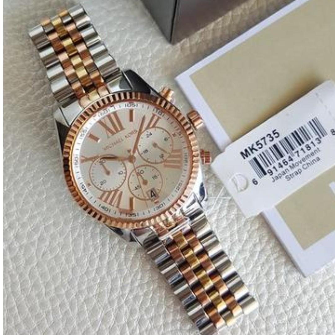 879473e60165 Michael Kors Lexington Chronograph Midsize Tri-tone Gold
