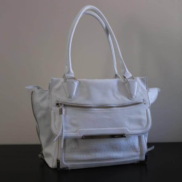 Mimco vertigo tote bag in white