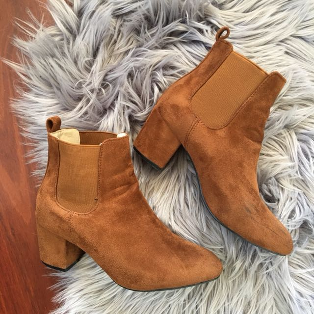 MissGuided Tan Faux Suede Ankle Boots Size AU5
