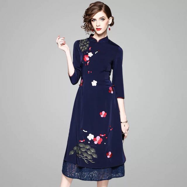 Modern vintage cheongsam dress embroidered Vietnamese Ao Dai Chinese ... 1e77719211b2