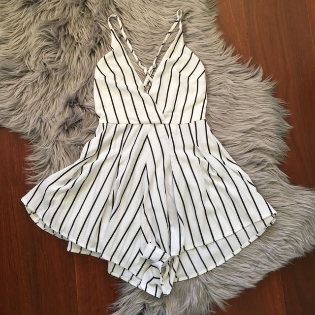 Morningmist White/Black Stripe Cross Back Playsuit Size 6