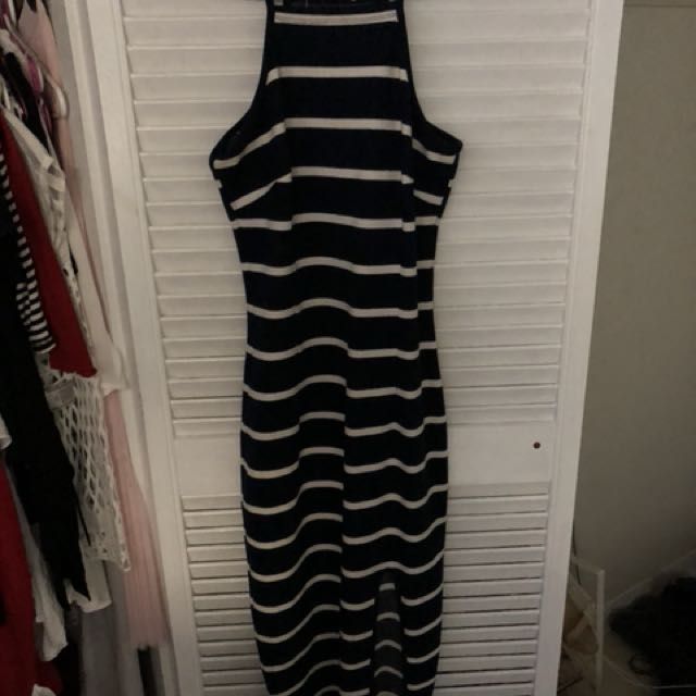 Navy high neck striped dress