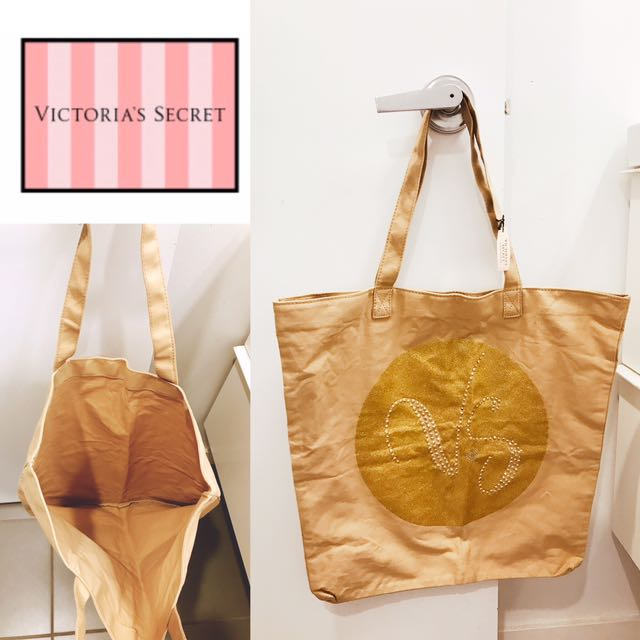 New Victoria Secret Beige & Gold Tote Bag