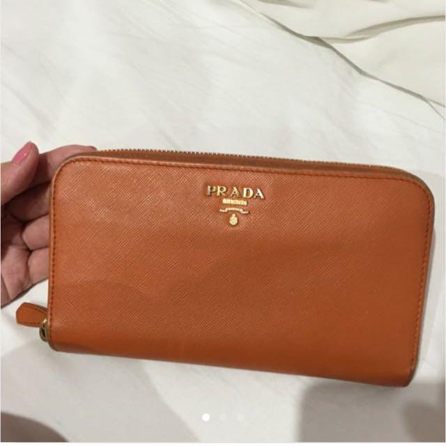 Orange Prada Milano Wallet