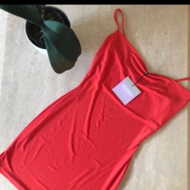 Orange slinky dress