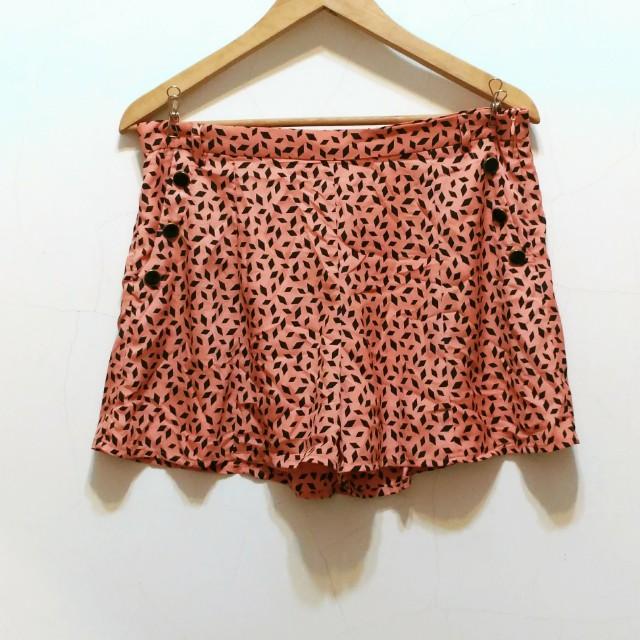 PAZZO 幾何圖形印花褲裙 橘色