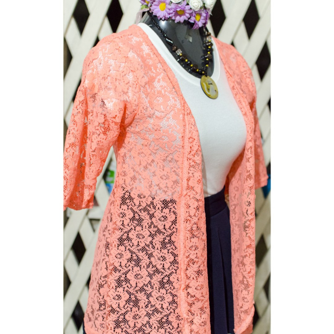 Peach Lace Cardigan Cover up