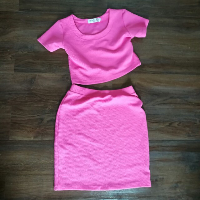 Pink Crop Top and Dress Set