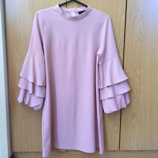 Pink Manila Ruffle Sleeve Dress in Old Rose