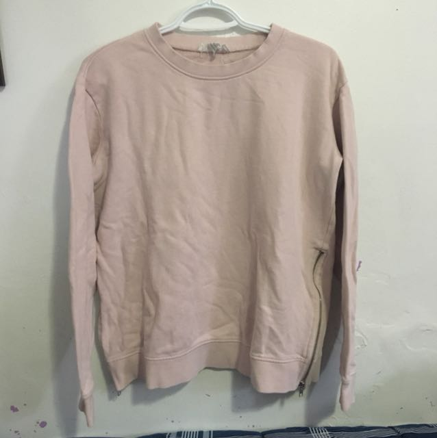 pink sweater with side zippers