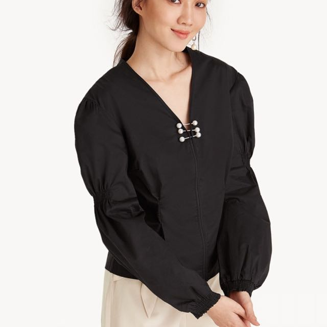Pomelo pearl  black blouse