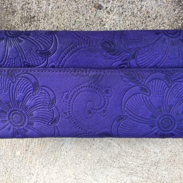 Saddler blue/purple leather floral embossed wallet