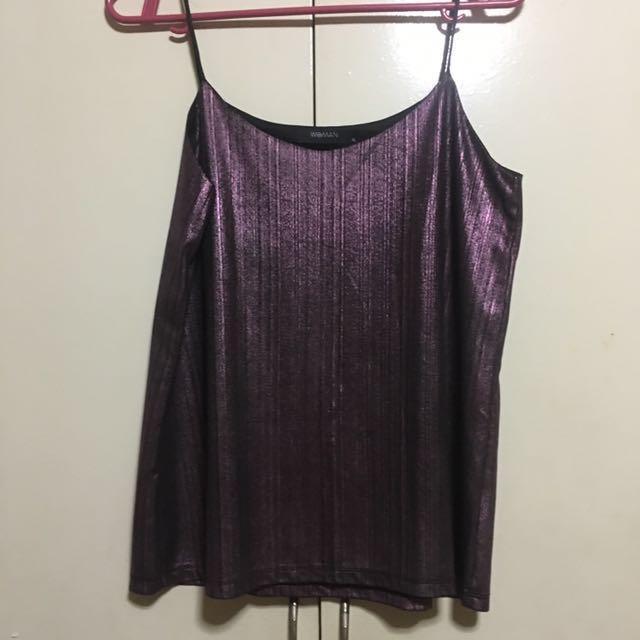 SM Woman Metallic Violet Spag Strap Top XL