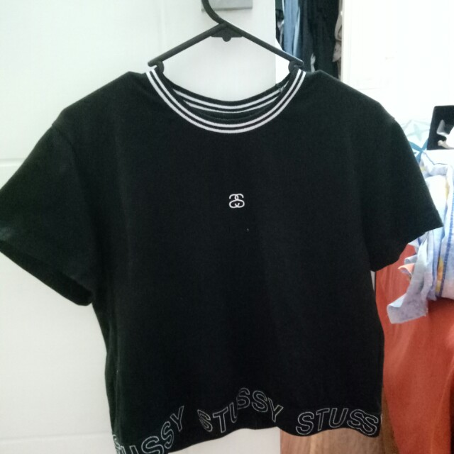 Stussy black band top cropped