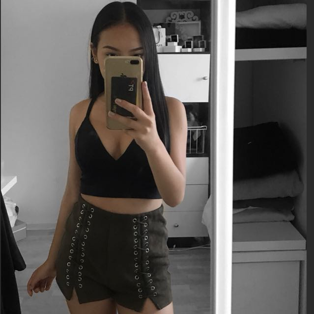 Suede Lace Up Khaki Shorts