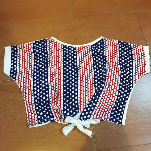 Tied USA Flag Printed Crop Top